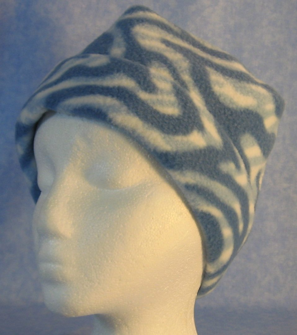 Long Hat in Blue White Zebra-Youth S-M