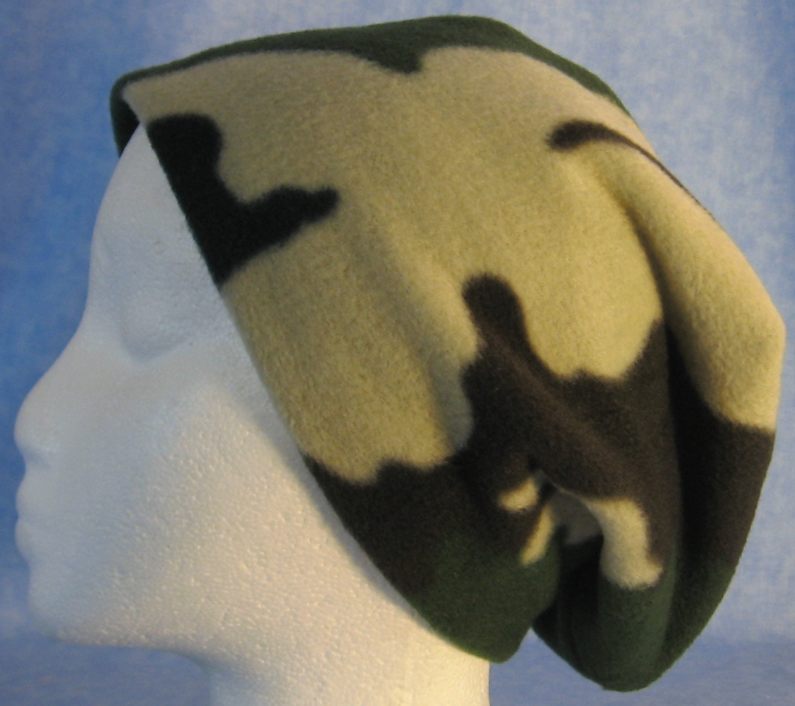 Long Hat in Green and Brown Camo-Adult M