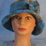 Cloche with Flower Hat in Blue and Brown Plaid - front
