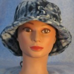 Cloche with Flower Hat in Blue Tie Dye Print - front