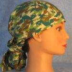Hair Bag in Lizards in Brown Green Teal Colors - side