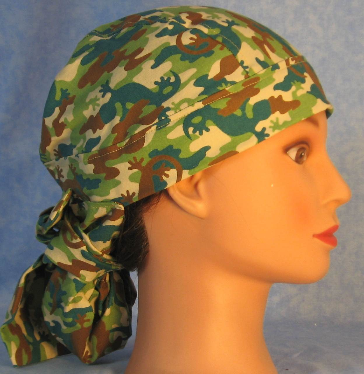 Hair Bag Do Rag in Lizards in Brown Green Teal - Youth L-XL-Adult S
