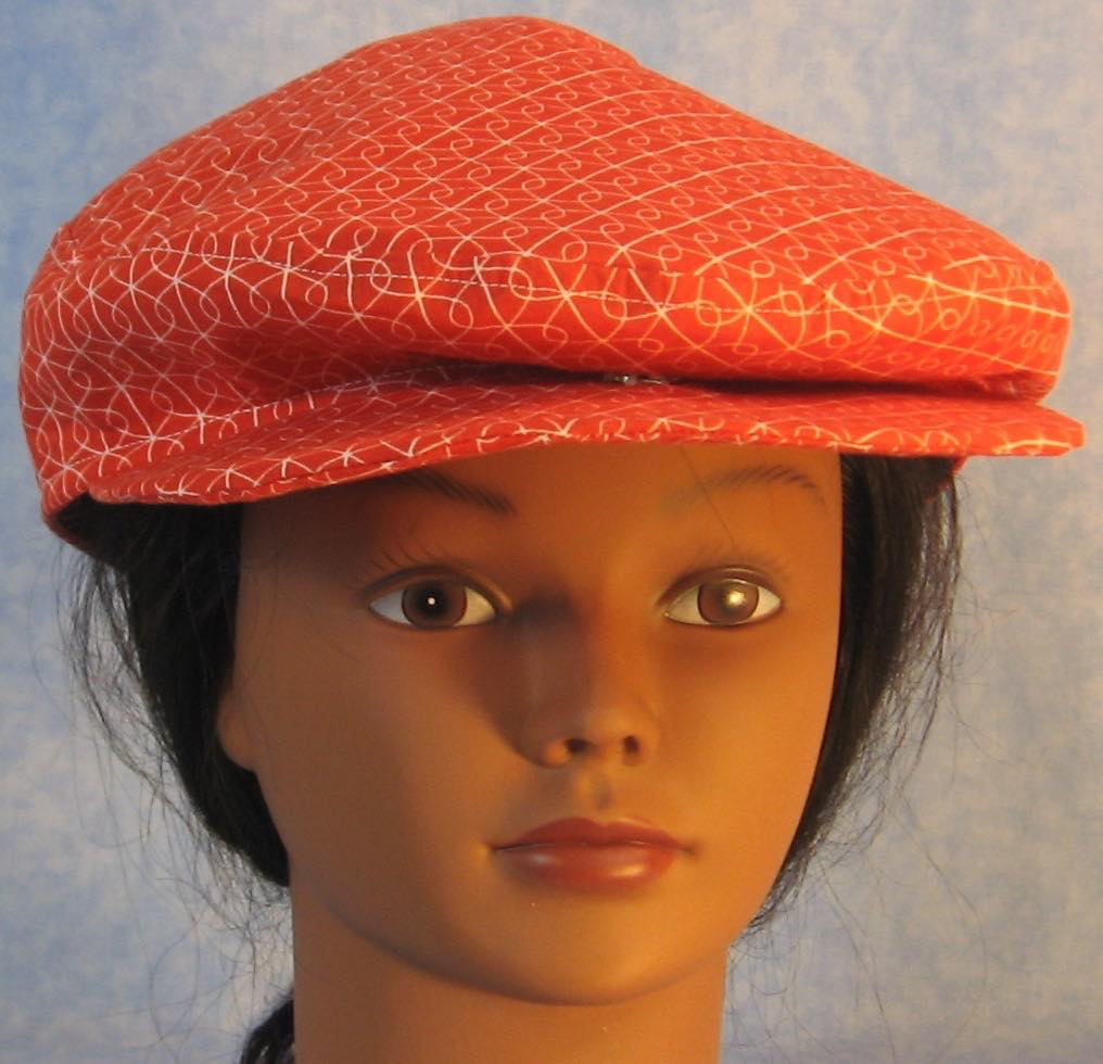 Flat Cap in Red White Loop Line - Adult M-XL