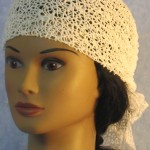 Head Wrap in White Mesh Net - front