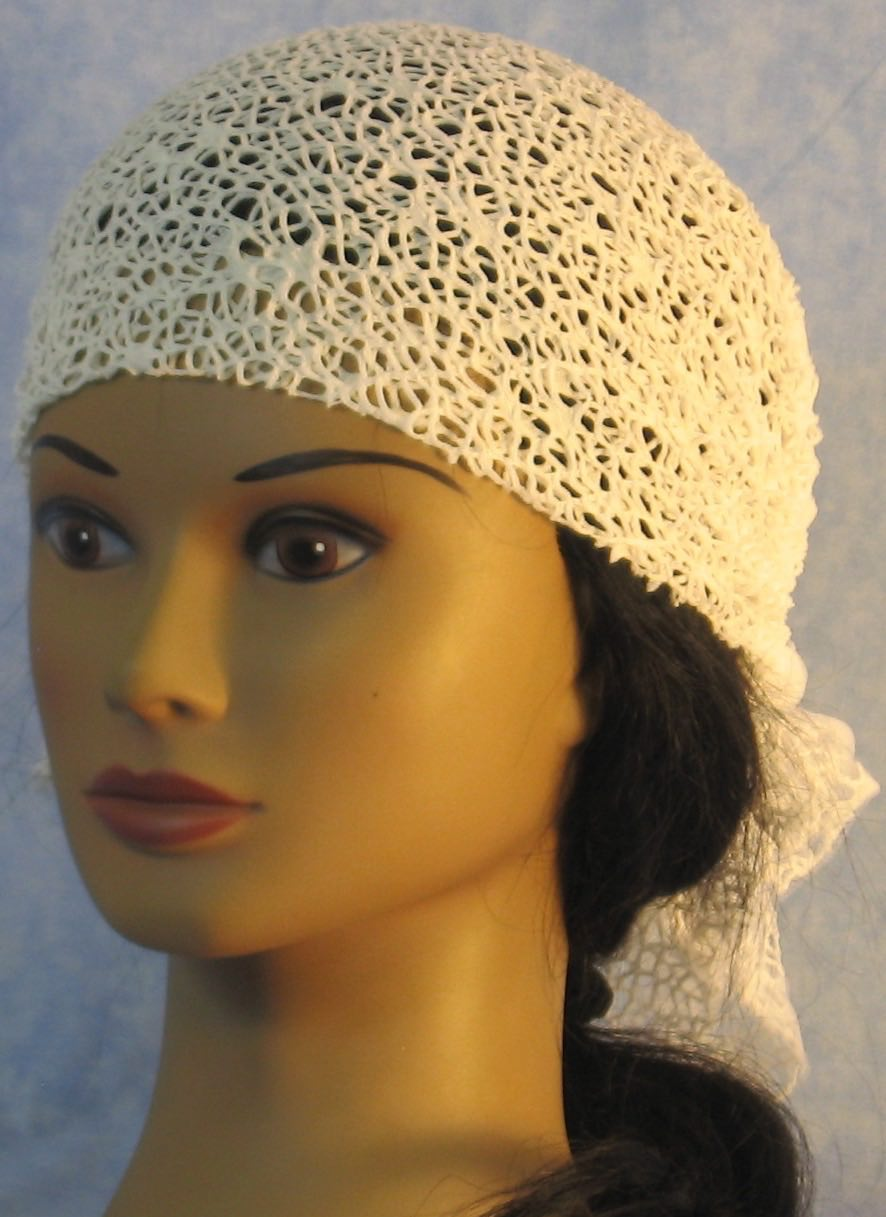 Head Wrap in White Mesh Net