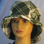 Cloche Hat with Flower in Green White Plaid - front