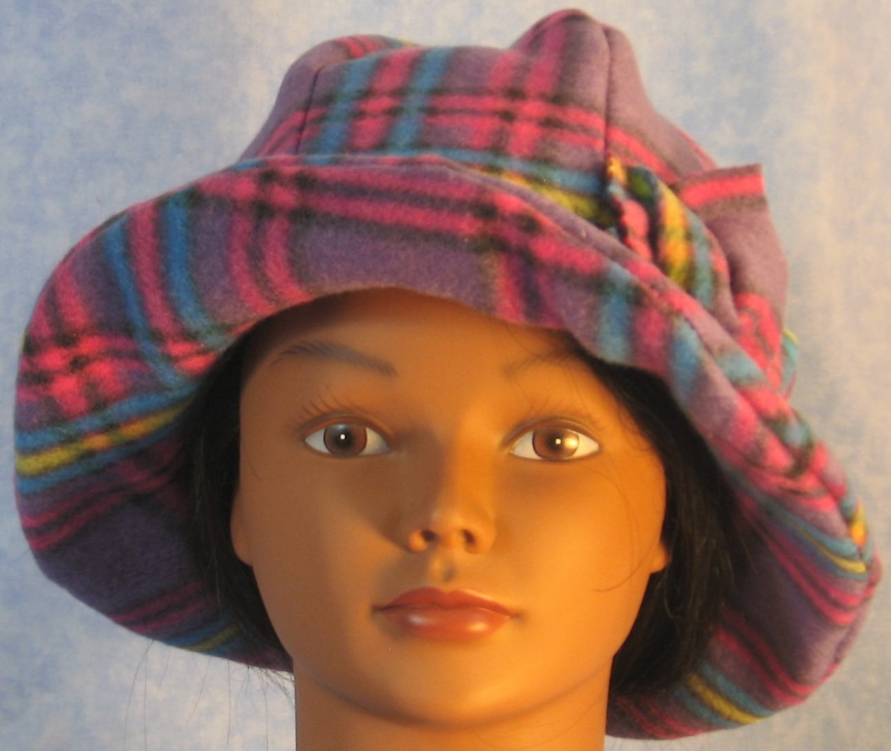 Cloche Hat in Purple Pink Plaid-Adult S