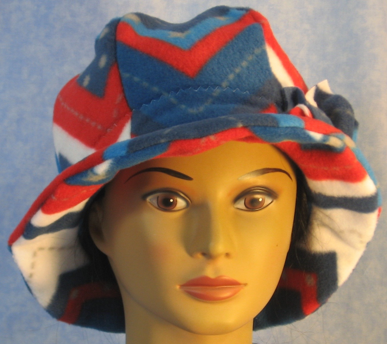 Cloche Hat in Red White Blue V's-Adult L