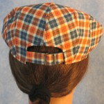 Flat Cap in Orange Navy Plaid - back female