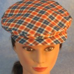 Flat Cap in Orange Navy Plaid - front top female