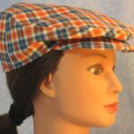 Flat Cap in Orange Navy Plaid - right female