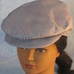 Flat Cap in Purple White Geometric - front top