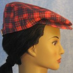 Flat Cap in Red and Blue Plaid - right female