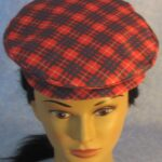 Flat Cap in Red and Blue Plaid - top front female
