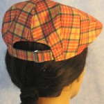 Flat Cap in Red Gold Plaid - back