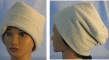 Long style fleece hat rolled and unrolled