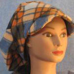 Newsboy Hat in Blue and Orange Plaid - front right
