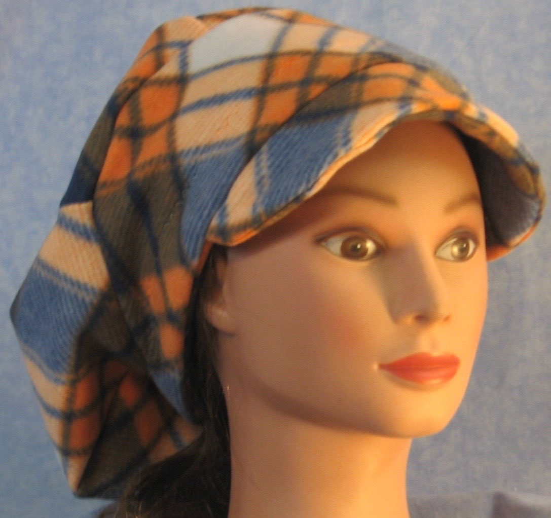Newsboy Hat in Blue Orange Plaid-Adult L