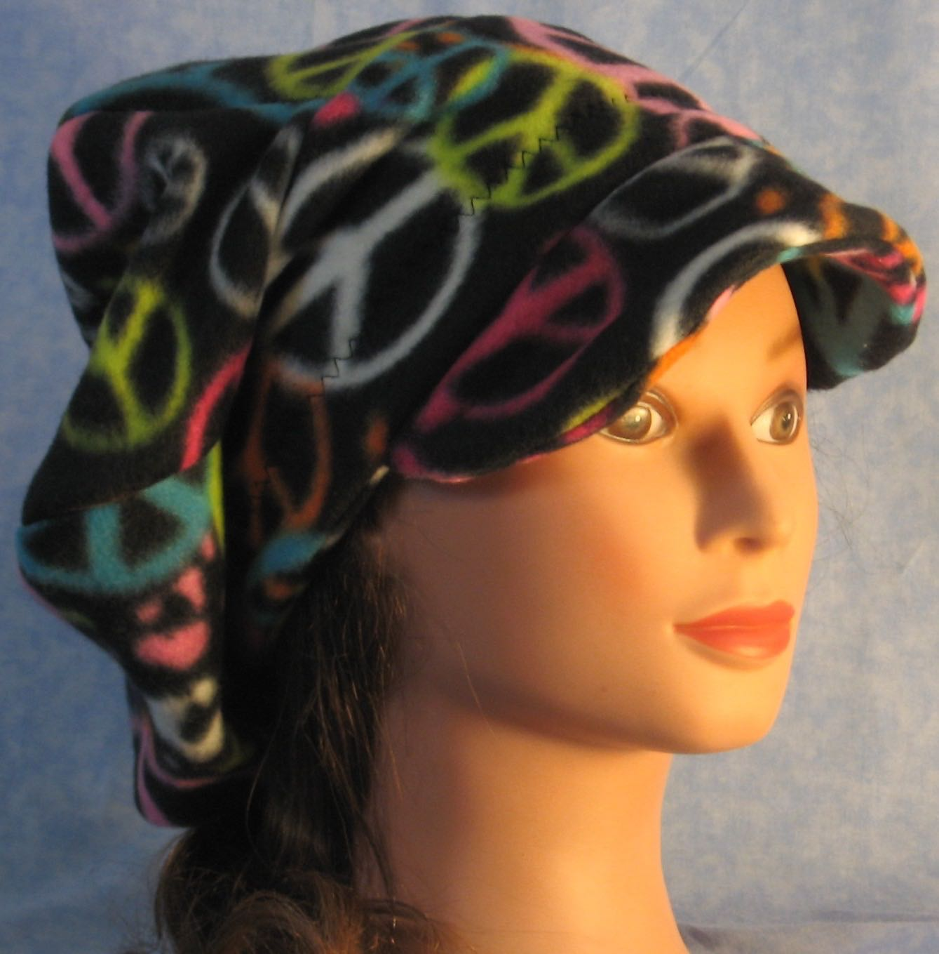 Newsboy Hat in Peace on Black-Adult M