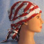 KA Hair Stocking in Red White Waves with Silver Stars