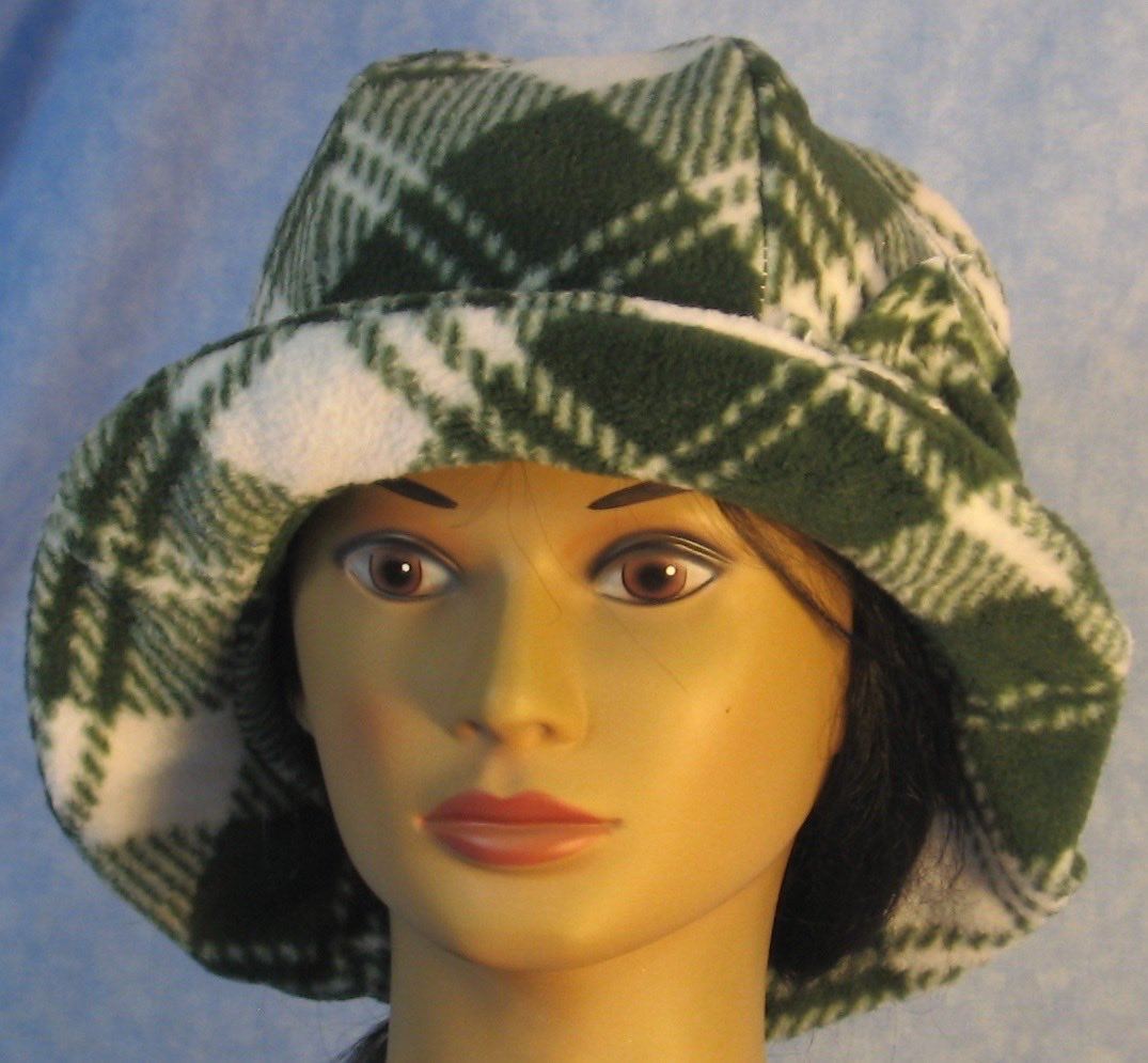 Cloche Hat in Green White Plaid-Adult L