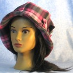 Cloche Hat with Flower in Pink Black Plaid - front