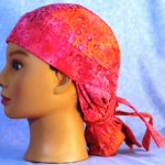 Hair Stocking in Pink Orange Circle Batik - left