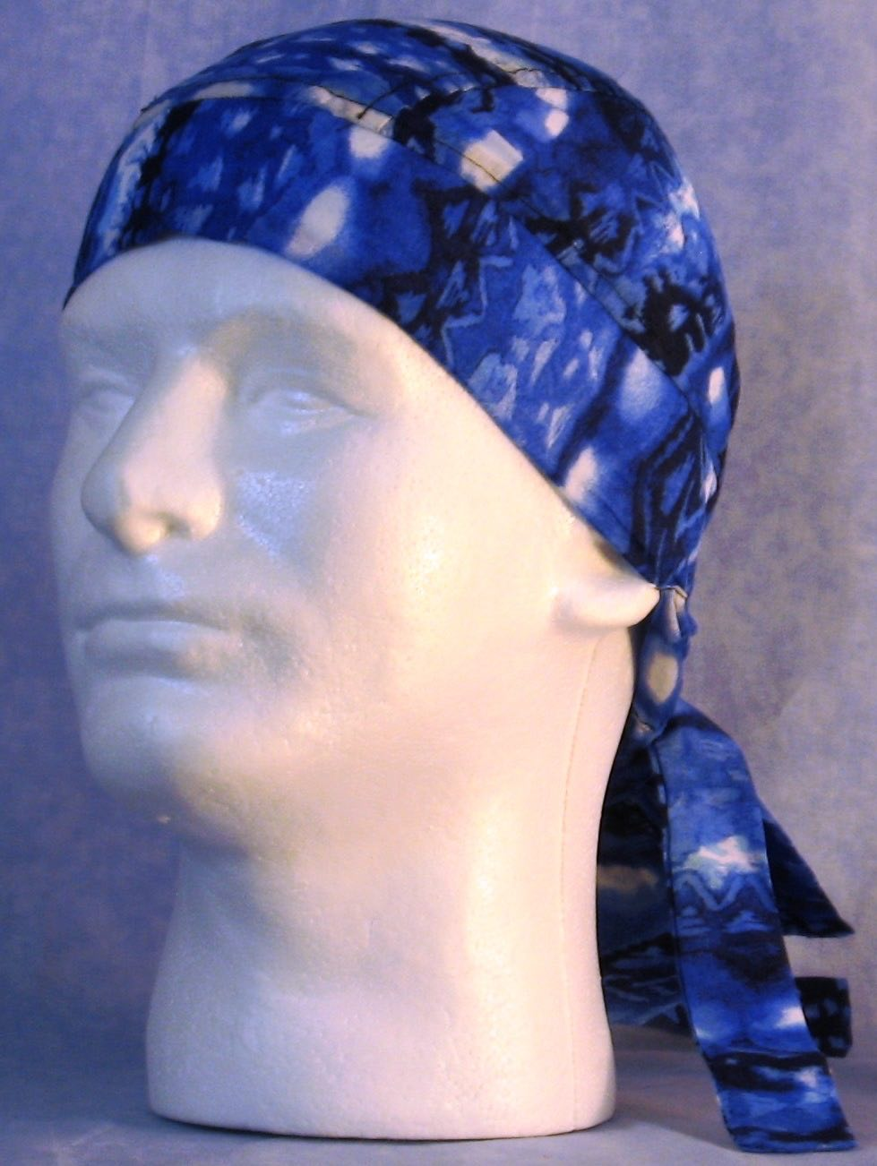Hair Bag Do Rag in Blue White Stripe Ethnic - Youth L-XL-Adult S