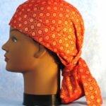 Hair Stocking in Red Flowers with Gold Octagon - left