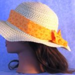 Floppy Hat Band in Orange Flower Dots - left