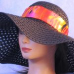 Floppy Hat Band in Red Pink Raindrops - left front