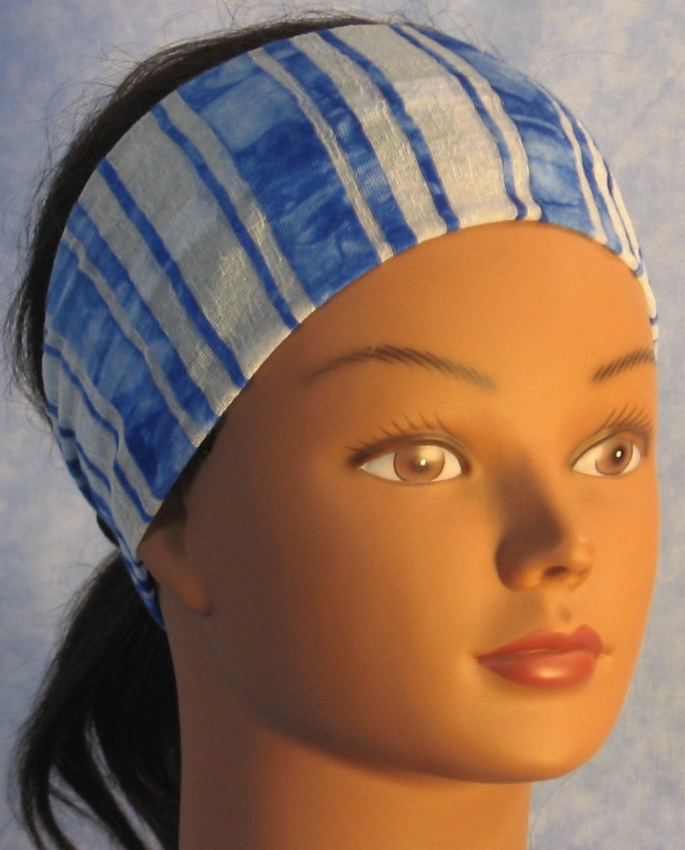 Headband-Blue White Stripe Burnout Knit-Youth S-M