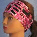Headband in Pink Grid Sprayed Performance Knit - left