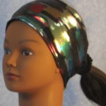 Headband in Rainbow Oil Brush Stroke Performance Knit - front left