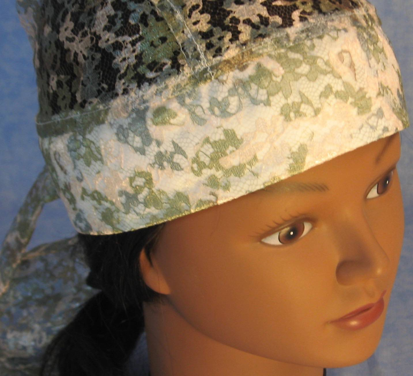 Do Rag in Green Flower Lace-Youth L-XL-Adult S