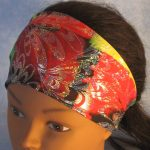 Headband in Rainbow Block with Silver Fans Performance Knit - top front