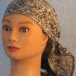 Head Wrap in Gray Speckle Camo - front left