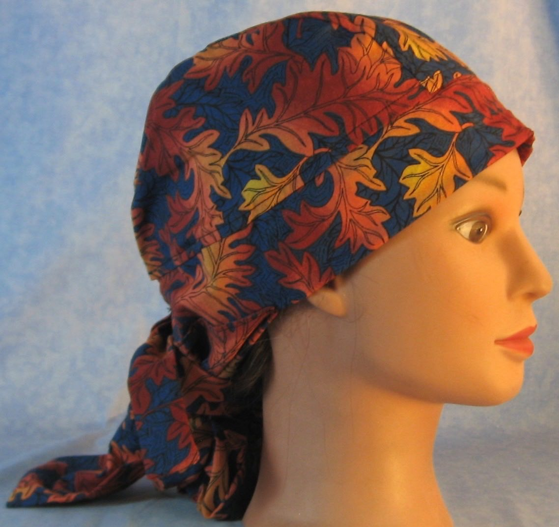 Hair Bag Do Rag in Orange Oak Leaves on Navy - Adult 1XL-3XL