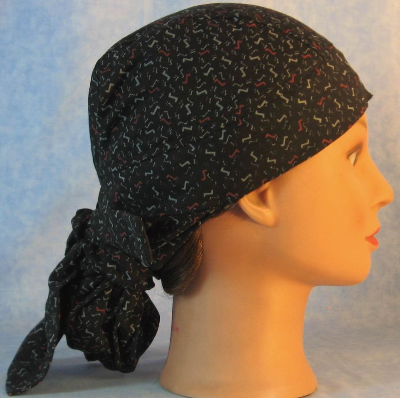 Hair Bag Do Rag in Red Gray Zs on Black - Adult M-XL