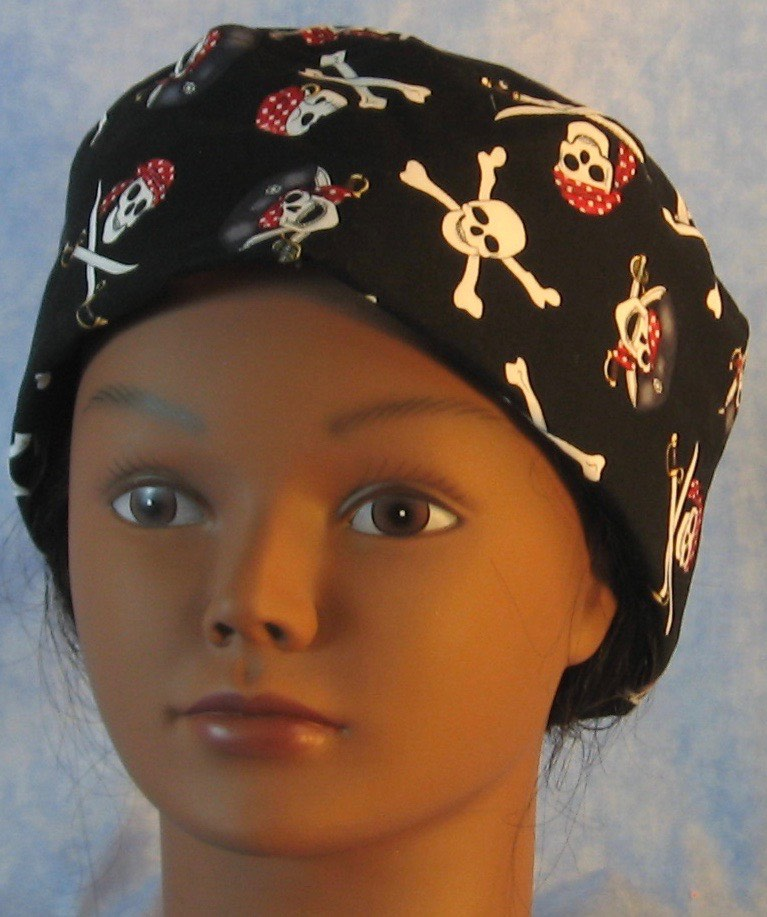 Skull Cap-Black Pirate Skulls-Adult XL