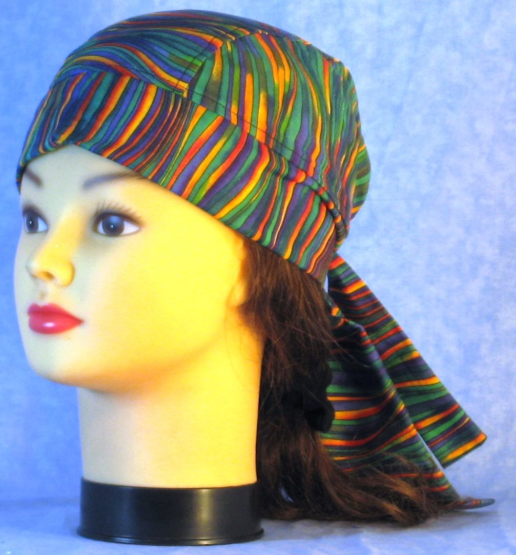 Do Rag in Green Blue Yellow Purple Waves-Adult M-XL
