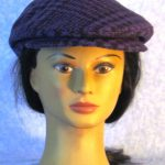Flat Cap in Purple Black Plaid Houndstooth Wool - front
