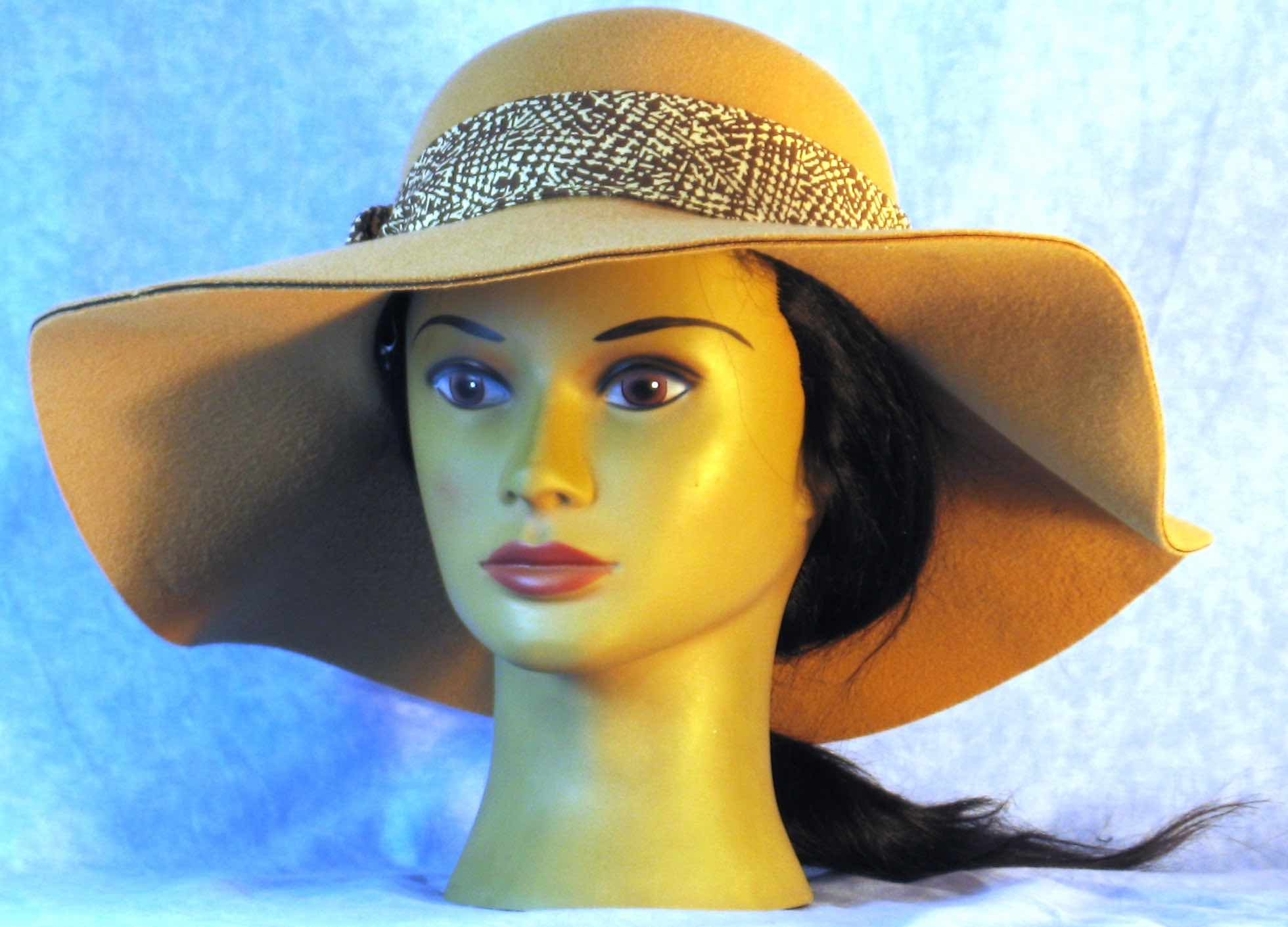 Floppy Hat Band-Brown Etching on Cream