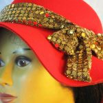 Hat Band in Gold Dots on Gold Black Knit - bow