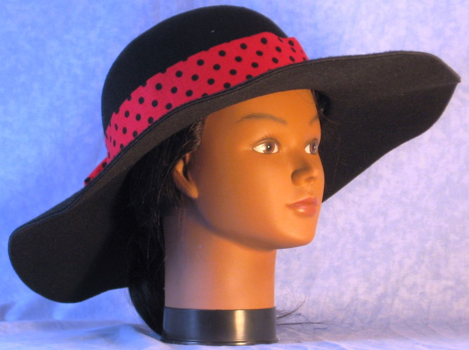Floppy Hat Band-Rose Red with Black Polka Dots