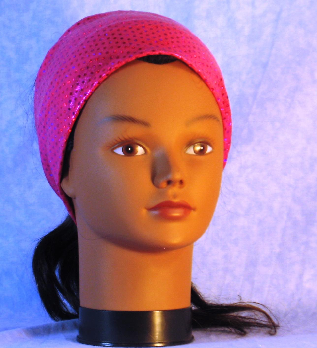 Headband-Hot Pink Dots Sparkle Performance Knit-Youth S-M