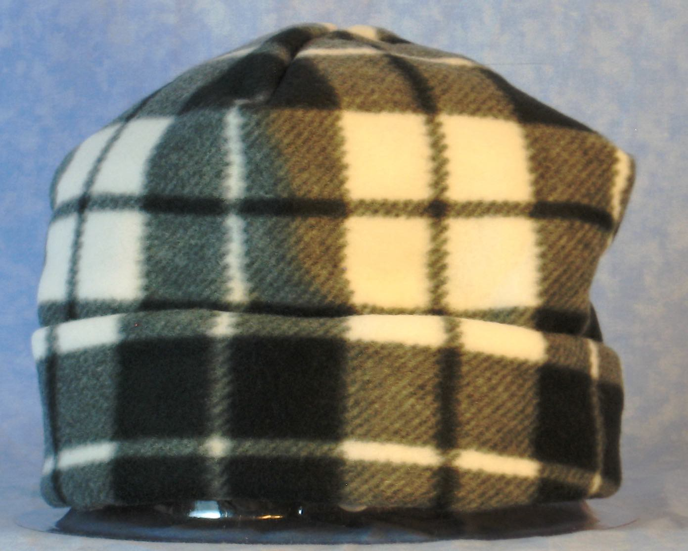 Long Hat in Black White Gray Plaid-Adult 1XL