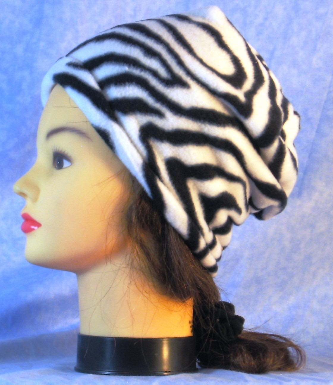 Long Hat in Black White Zebra-Youth L-XL