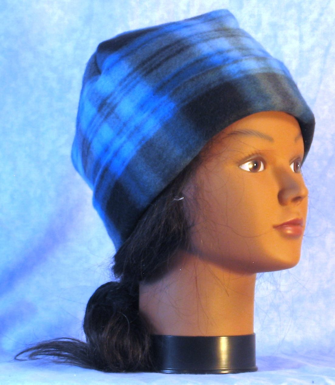 Long Hat in Blue Black Plaid-Youth L-XL