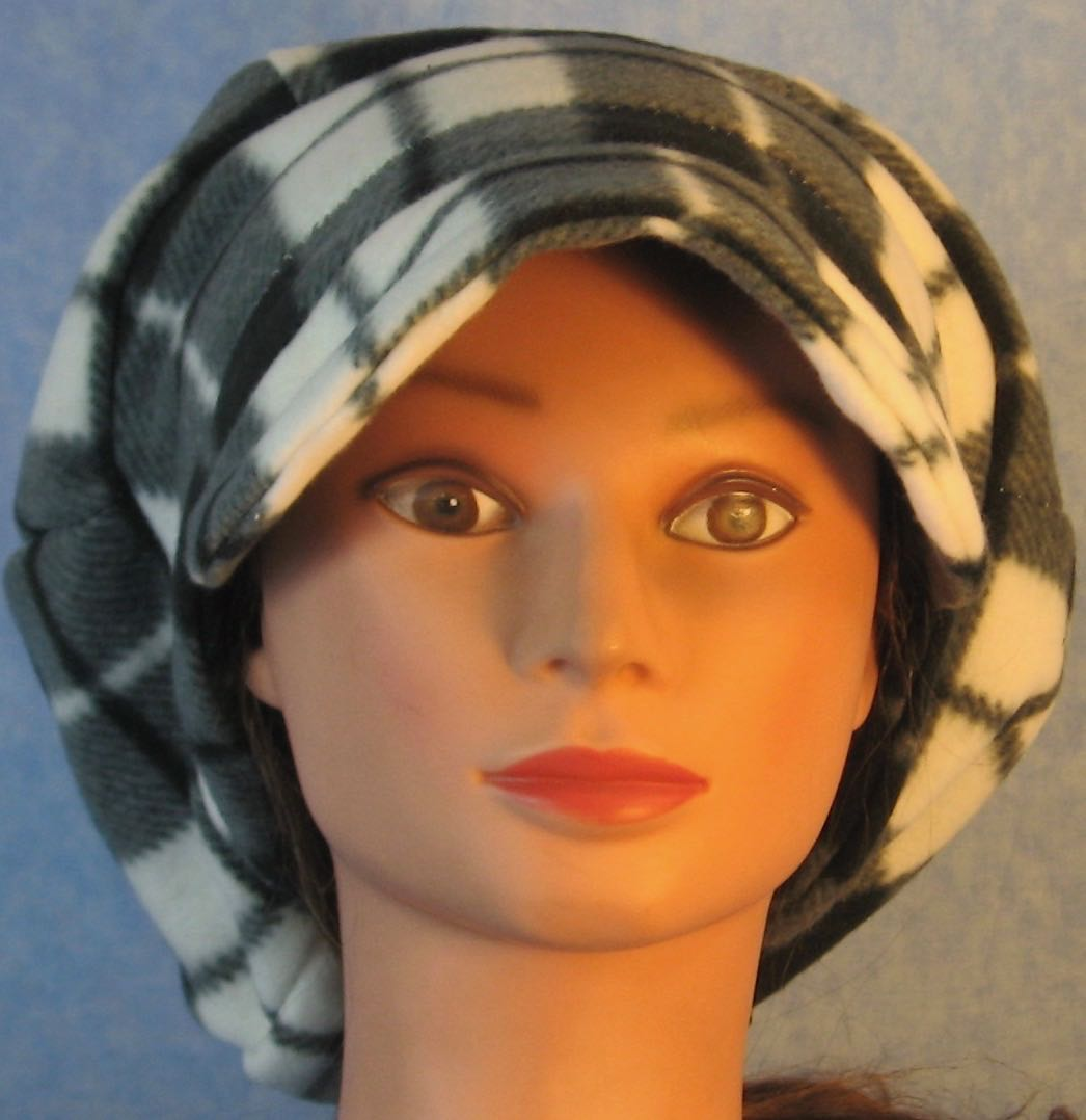 Newsboy Hat in Black White Gray Plaid-Youth L-XL